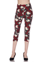 Double Brushed Skull and Red Roses Capris - Plus Size