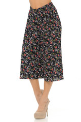 Fashion Casual Red Floral Vine Pleated Gaucho Capris