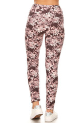 Beautiful Pink Floral Eden High Waist Double Brushed Leggings