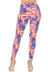 Watercolor USA Flag Double Brushed Leggings - Plus Size