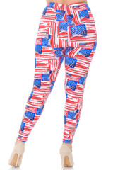 Double Brushed Watercolor USA Flag Leggings - Plus Size