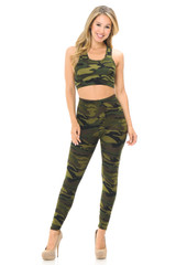 Green Camouflage Double Brushed Leggings and Bra Set