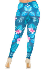 Soft Double Brushed Tropical Pink  Flowers Leggings - Plus Size