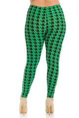 Buttery Soft Green Houndstooth Leggings - Plus Size