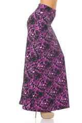 Double Brushed Electric Fuchsia Music Note Maxi Skirt