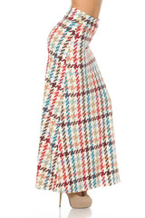 Buttery Soft Earth Tone Pixel Zags Maxi Skirt