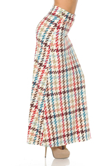 Double Brushed Earth Tone Pixel Zags Maxi Skirt