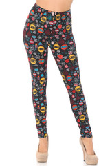 Double Brushed Colorful Hanging Christmas Ornaments Leggings - Plus Size