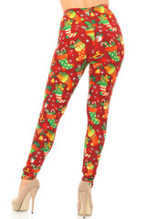 Double Brushed Ruby Red Christmas Stocking Leggings - Plus Size