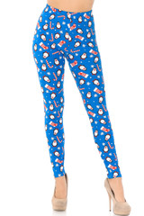 Buttery Soft Icy Blue Christmas Penguins Leggings