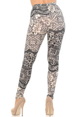 Buttery Soft Cream Leaf Leggings - Extra Plus Size - 3X-5X