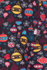 Double Brushed Colorful Christmas Ornaments Kids Leggings