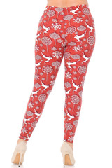 Double Brushed Jumping Christmas Reindeer Leggings - Extra Plus Size - 3X-5X