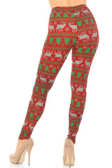 Faux Knit Reindeer and Holiday Tree Double Brushed Leggings