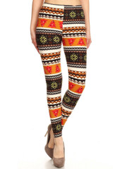 Double Brushed Christmas Tree and Snowflake Leggings - Plus Size