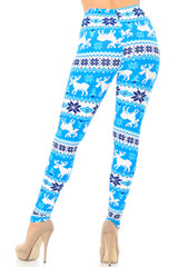 Double Brushed Icy Blue Christmas Reindeer Leggings - Extra Plus Size - 3X-5X