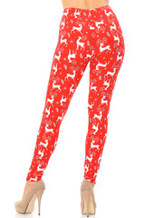Double Brushed Prancing Christmas Reindeer Leggings - Extra Plus Size - 3X-5X