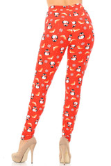 Double Brushed Ruby Red Penguins Mistletoe and Snowflake Leggings - Plus Size