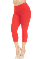 Double Brushed Basic Solid High Waisted Capris - Plus Size - 3 Inch - New Mix