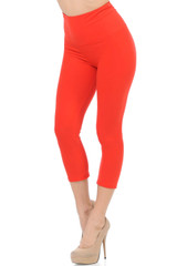 Double Brushed Basic Solid High Waisted Capris - 5 Inch - New Mix