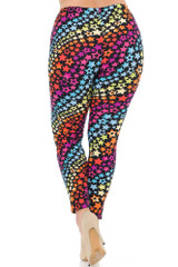 Buttery Soft Flowing Rainbow USA Stars Leggings - Plus Size