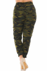 Double Brushed Green Camouflage Cargo Joggers - Plus Size - New Mix