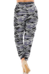 Double Brushed Charcoal Camouflage Cargo Joggers - Plus Size - New Mix