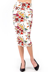Double Brushed Fresh Spring Floral Skirt