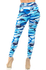 Blue Camouflage High Waisted Double Brushed Leggings - EEVEE