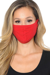 Red Unisex Cotton Face Mask with PM2.5 Filter Pocket - Made in USA
