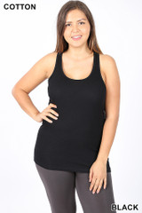 Racer Back Ribbed  Plus Size Tank Top