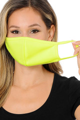 Summer Neon Yellow Scuba Knit Face Mask - Made in the USA