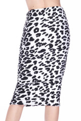 Double Brushed Ivory Spotted Leopard Pencil Skirt