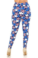 Double Brushed American Stars Leggings - Extra Plus Size - 3X-5X