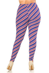 Double Brushed Spiral Stars and Stripes Leggings - Plus Size