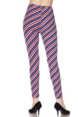Double Brushed Spiral Stars and Stripes Leggings - Extra Plus Size - 3X-5X
