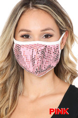 Pink Square Bling Sequin Fashion Face Mask - Made in USA