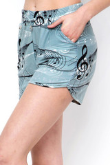 Double Brushed Swirling Music Notes Dolphin Shorts