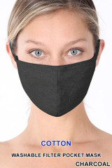 Charcoal Solid Cotton Face Mask - Imported