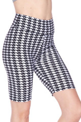 Double Brushed Houndstooth Biker Shorts - 3 Inch Waist Band