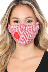 Red checkered Plaid Face Mask with Air Valve