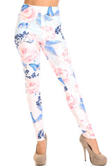 Butterflies and Jumbo Pink Roses Creamy Soft Leggings - Extra Plus Size