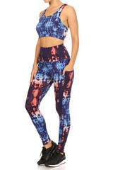 High Waisted Blue Tie Dye Sports Leggings with Side Pockets - 2 Piece Set