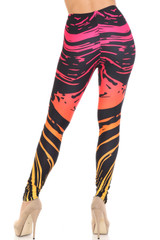 Ombre Swirling Paint Stroke Creamy Soft Leggings - Extra Plus Size