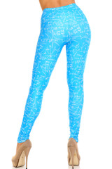 Creamy Soft Stained Blue Math Leggings - Extra Plus Size