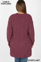 Back side image of Front image of Eggplant Cable Knit Popcorn Round Neck Hi-Low Plus Size Sweater