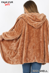 Back Image of Eggshell Faux Fur Hooded Cocoon Plus Size Jacket with Pockets