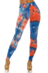 Buttery Soft Red and Blue Tie Dye Leggings - Plus Size