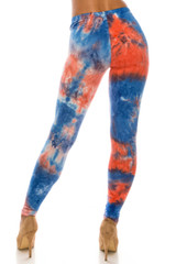 Double Brushed Red and Blue Tie Dye Leggings - Plus Size