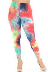 Double Brushed Summer Yellow Tie Dye Leggings - Extra Plus Size - 3X-5X